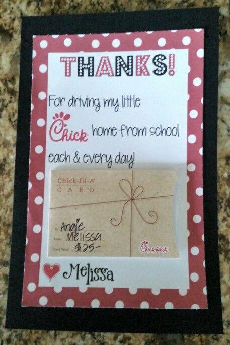 Carpool Thank You Gift Card Teacher Appreciation Gifts Thank