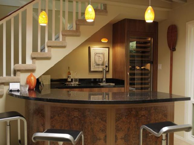 Basement Design, Comely Small Basement Remodeling Ideas For Wet Bar Ideas  With Cool Yellow Pendant