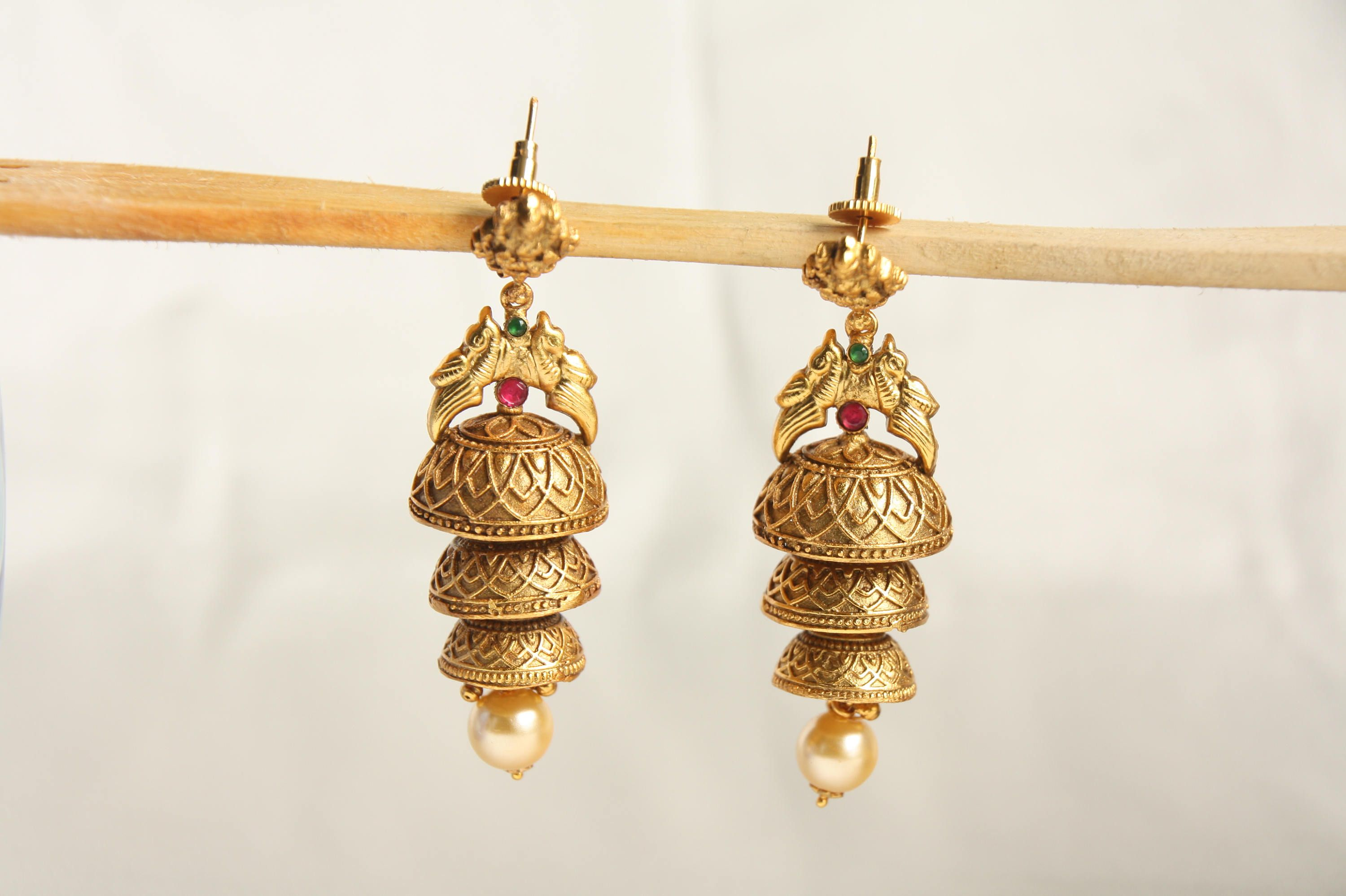 c1941f591 Antique Gold Finish Layered Jhumka Earring, Temple Jewelry, Traditional  Indian Jhumki, Pearldrop Jhumka, Gift For Her,Indian Wedding Jewelry by ...