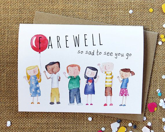 Farewell Handmade Illustrated Card Goodbye Office Work Con