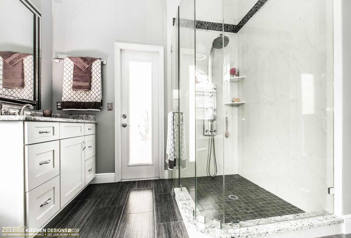 Waypoint cabinets combine with porcelain tiles in various patterns ...