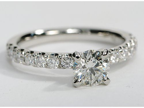 Scalloped Pave Diamond Engagement Ring In Platinum 3 8 Ct Tw