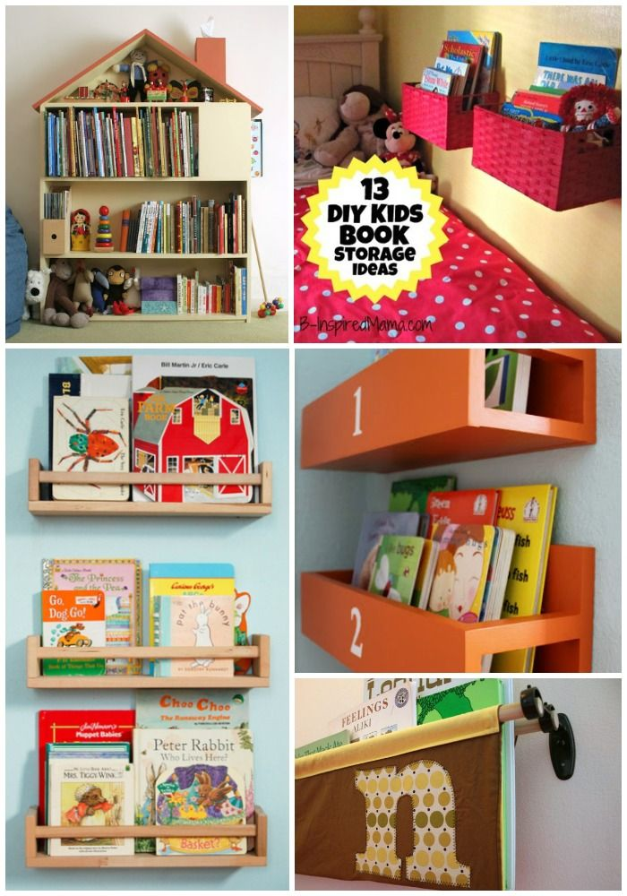 A Diy Wall Book Display With Baskets 12 More Kid S Book Storage Ideas B Inspiredmama Com Kids Book Storage Bookshelves Diy Diy Wall Books