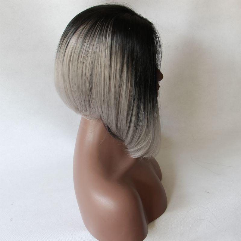 Moda grigio sintetica parrucca anteriore del merletto glueless ombre naturale nero/silver grey breve bob capelli resistente al calore parrucche per donne