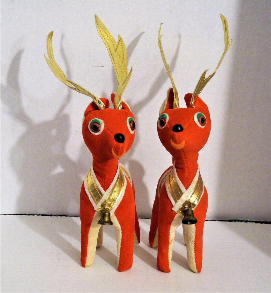 2 Vintage Red Felt Reindeers Christmas Gold White Bell Japan Sawdust Bells Gold Christmas Christmas Reindeer Christmas