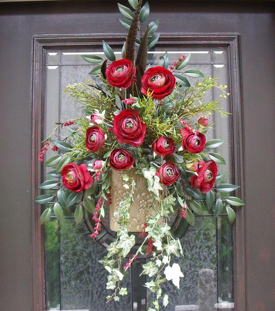 Door Wreath Wall Floral Arrangement Flower Arrangement Red Wine