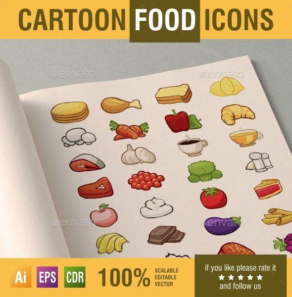 artoon food vector icons