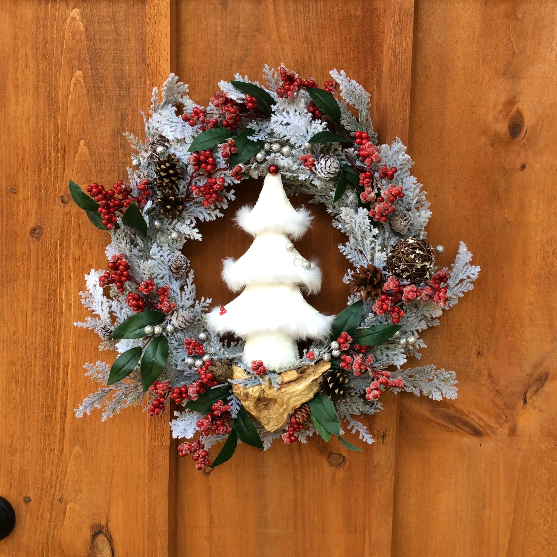 White Christmas Tree Winter Wreath 21inch Christmas Wreath Winter Wreath Front Door Decor Handmade Wreath Unique Made In Canada Christmas Wreaths Handmade Christmas Tree Handmade Wreaths