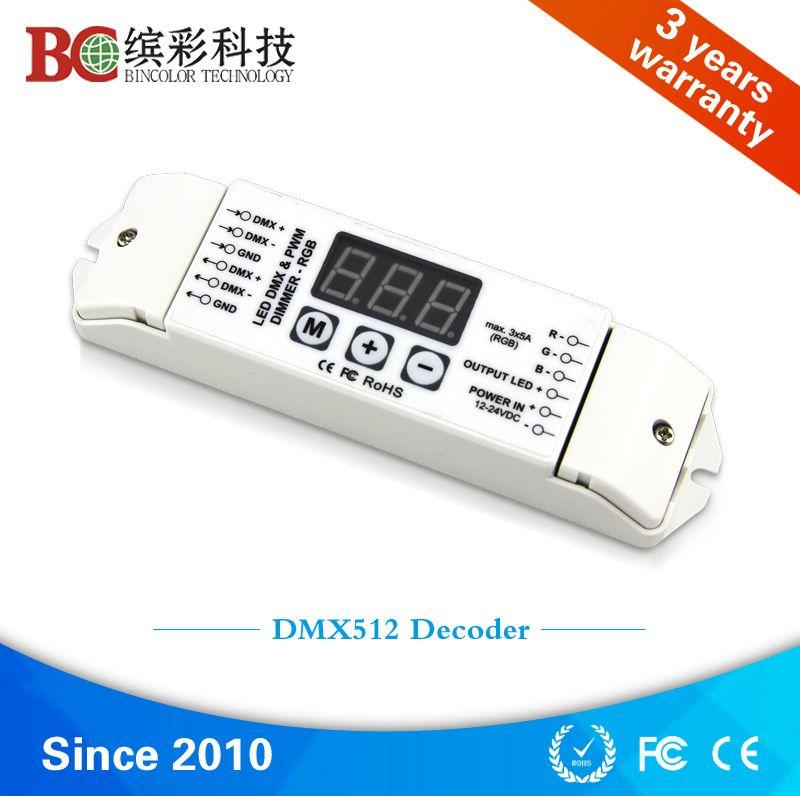 Flexible DC12V to DC24V input 3 channel RGB DMX512 decoder for RGB LED lights, DMX LED driver
