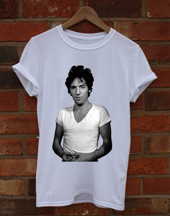 Bruce Springsteen White Crew Neck T-Shirt and Tank Top. Small to X-Large.