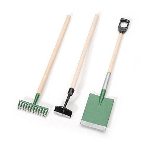 Miniature Set Of 3 English Gardening Tools Shovel Hoe Rake