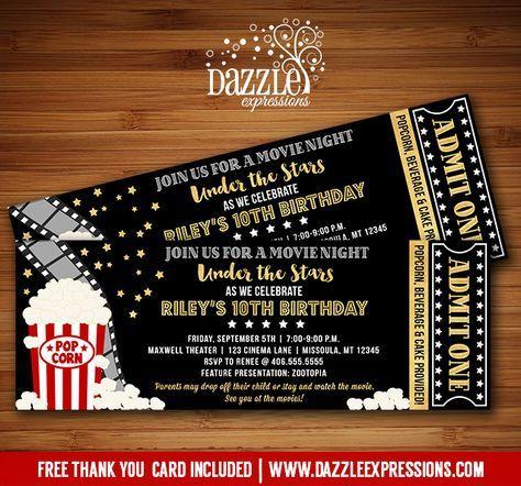 Printable Under The Stars Movie Ticket Birthday Invitation  Movie
