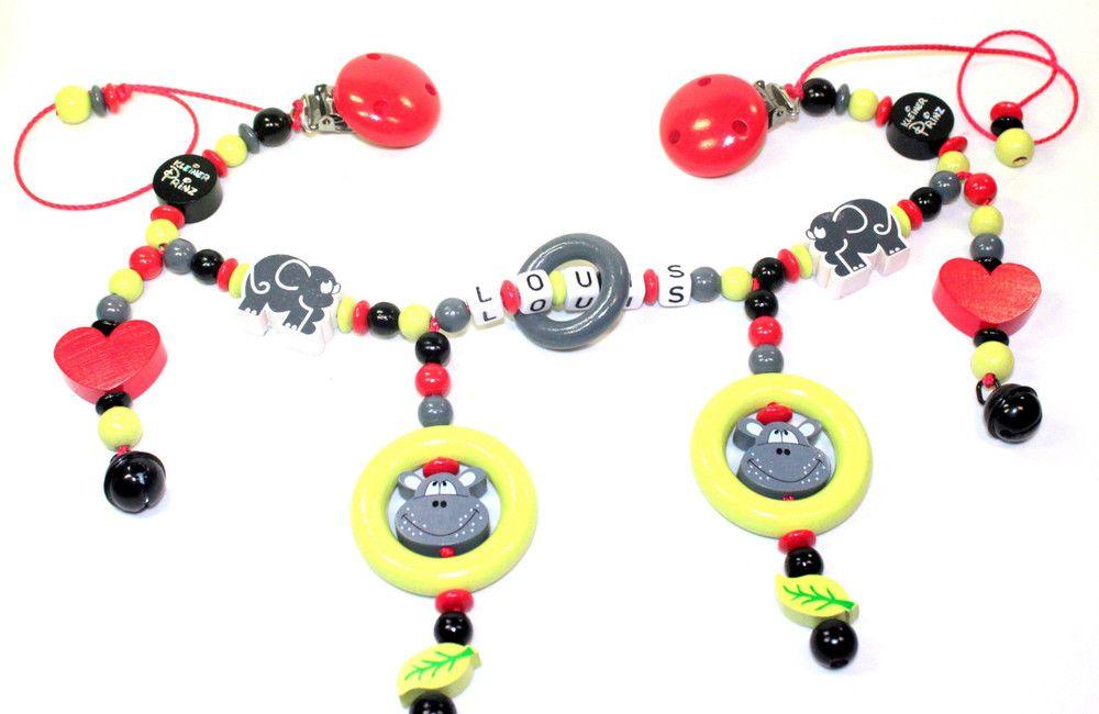 Kinderwagenkette mit Namen Pilz Kleeblatt Spielkette Wagenkette Stoffstern Baby