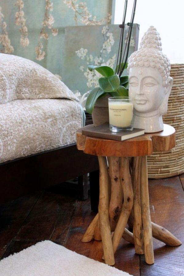 feng shui schlafzimmer einrichten beistelltisch holz buddha statue ...