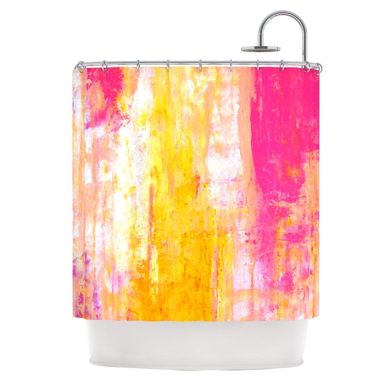 """CarolLynn Tice """"Growing Taller"""" Pink Yellow Shower Curtain"""