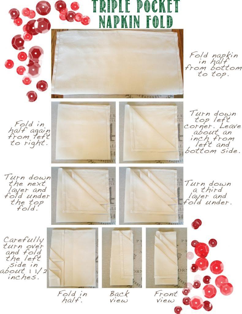 Napkin folding instructions for the pyramid napkin fold - Triple Pocket Napkin Fold Tutorial Www Adorbymelissa Com