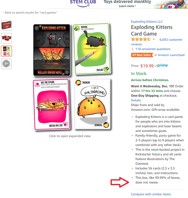 Shoppers Take Note The Exploding Kittens Card Game Box Does Not Meow When Opened Cute Cats Exploding Kittens Card Game Exploding Kittens Games Box