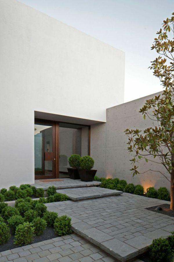 Moderne Hauseingänge beispiele für moderne gartengestaltung steinpflaster stufenförmig