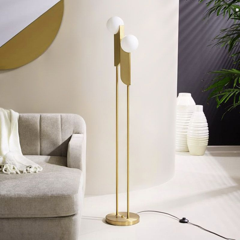 Modern Minimalist Torchiere Floor Lamp 2 Light Globe Floor Lamp With Glass Shade Gold Metal In 2020 Globe Floor Lamp Contemporary Floor Lamps Cool Floor Lamps