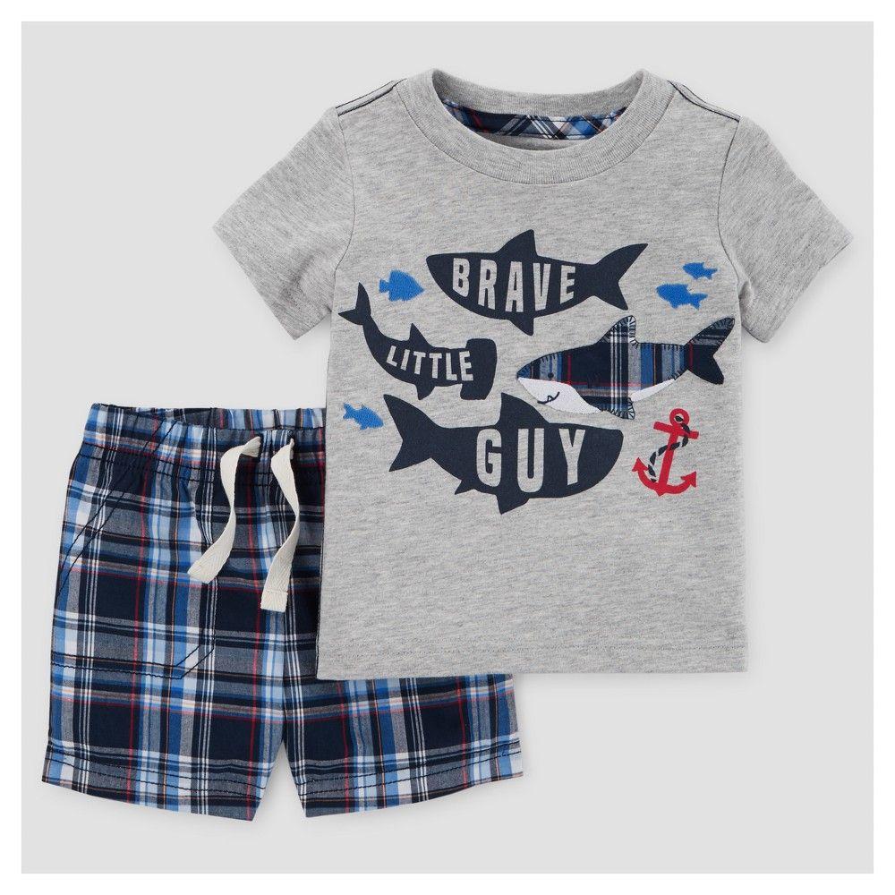Baby Boys 2pc Sharks Plaid T Shirt Set