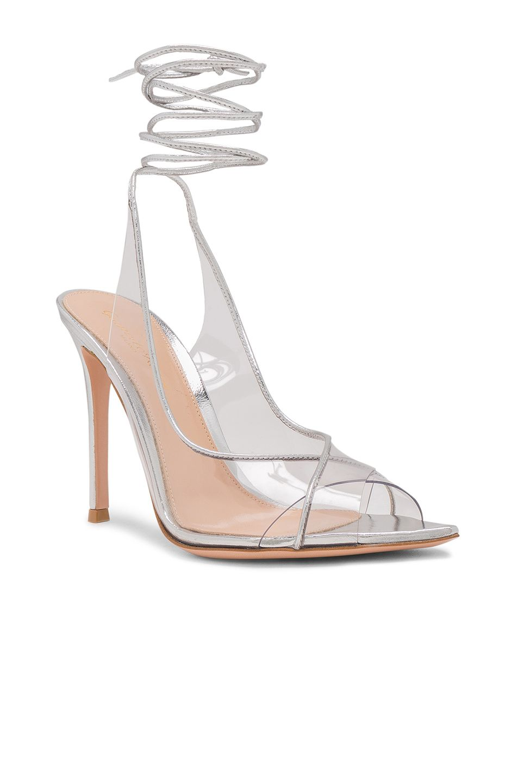 c5565f482da Image 2 of Gianvito Rossi Plexi Nappa Silk Strappy Heels in Trasp   Silver