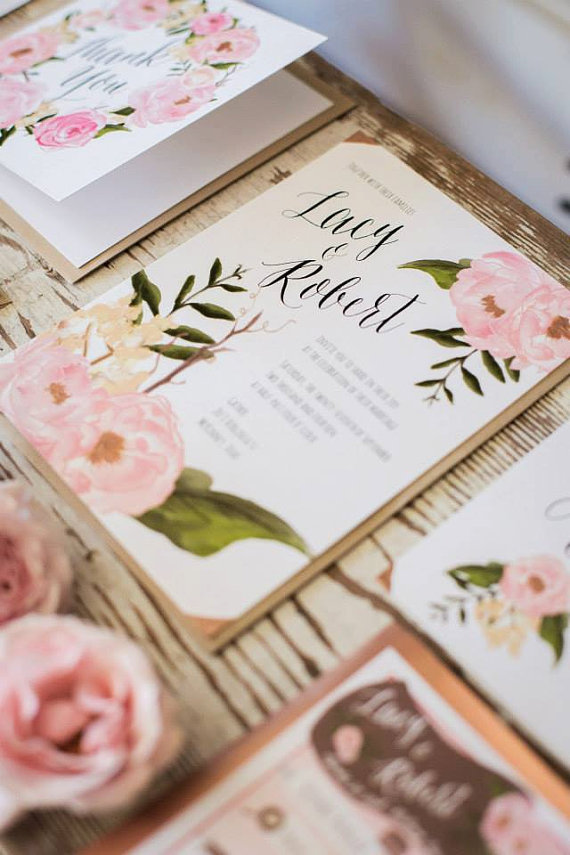 Floral Boho Wedding Invitation The Lacy 20 Invites RSVP Cards