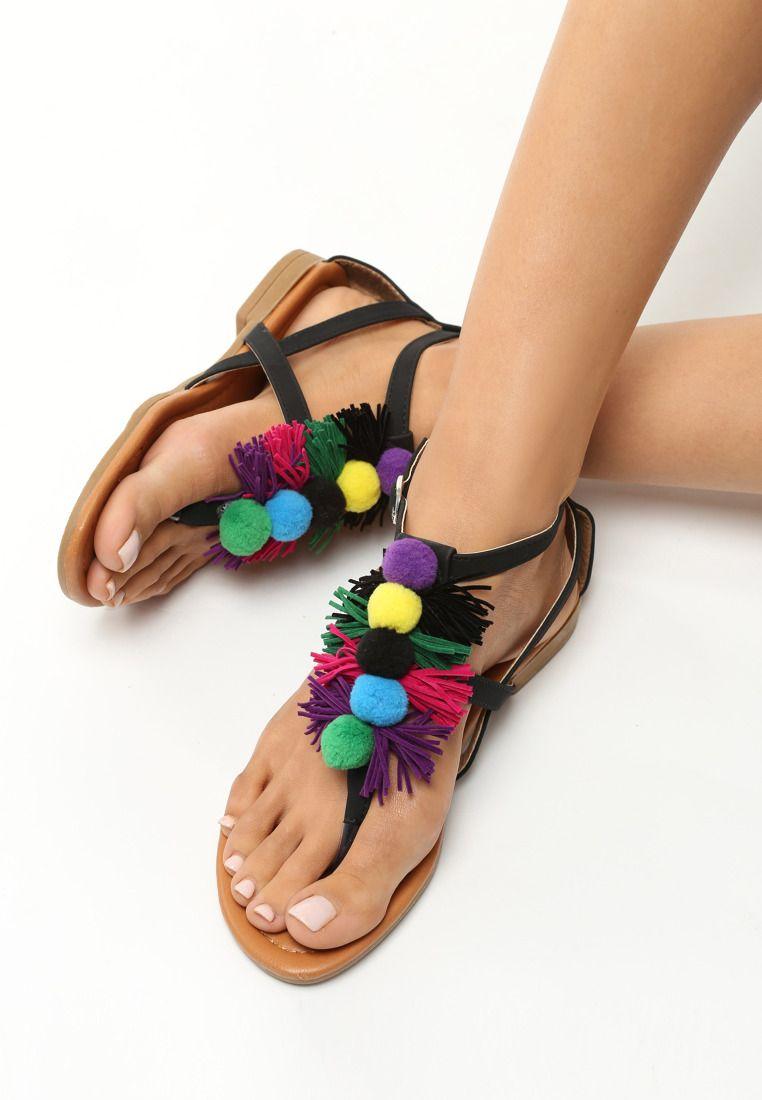 Czarne Sandaly Damla Shoes Womens Flip Flop Sandals