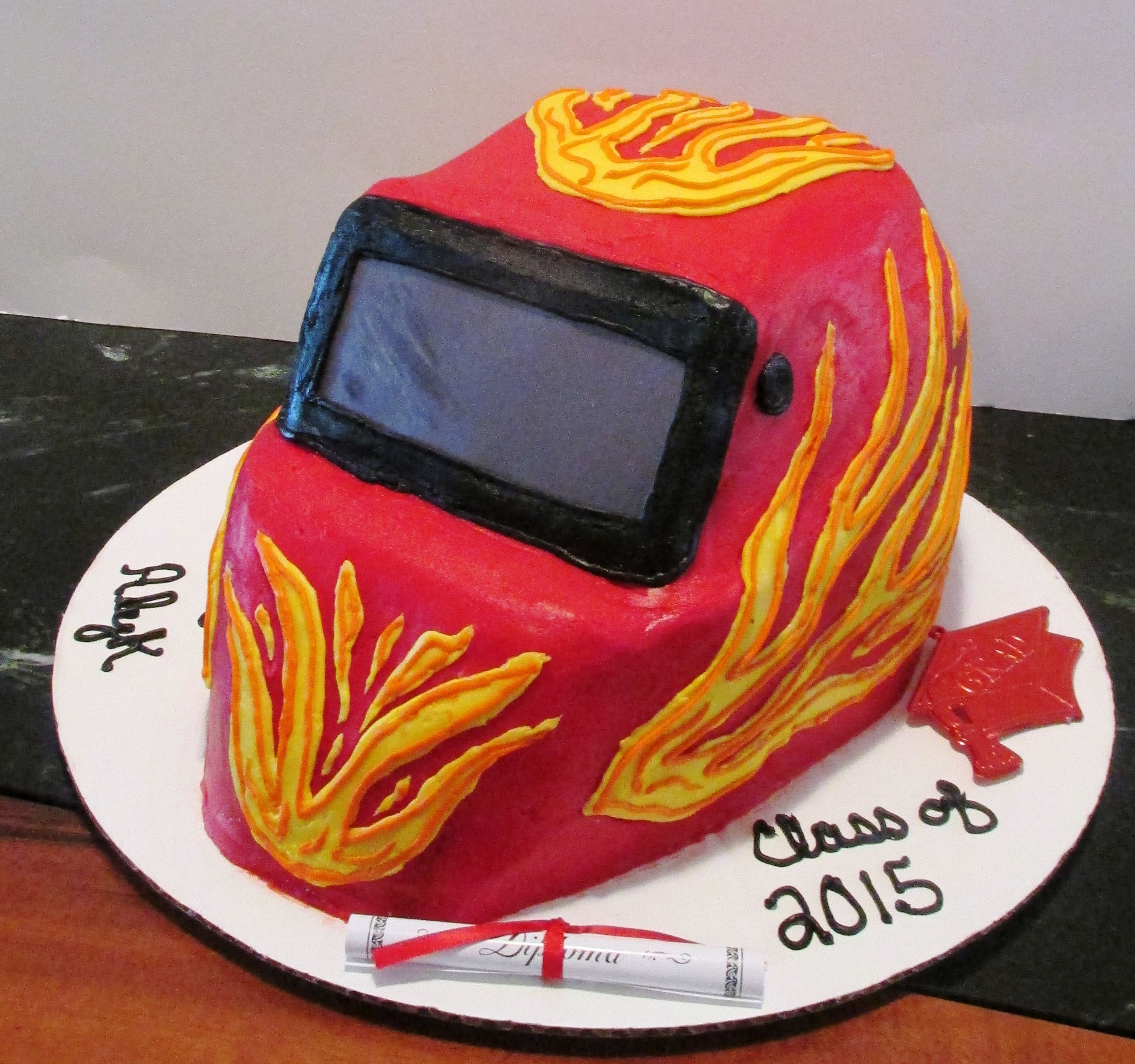 Welders Helmet All Buttercream Icing Custom Cakes By