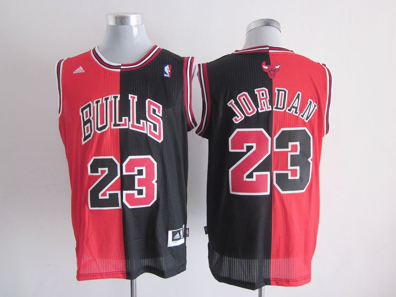 016ad9bae8e Adidas NBA Chicago Bulls 23 Michael Jordan Swingman Split Black Red Jersey