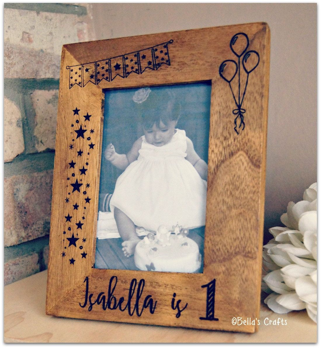 First Birthday Gift Personalised Picture Frame Babys 1st Wooden Rustic Photo Custom By BellasCrfts On Etsy