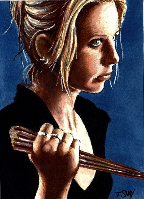 Buffy wielding stake by dr for Buffy angel tattoo