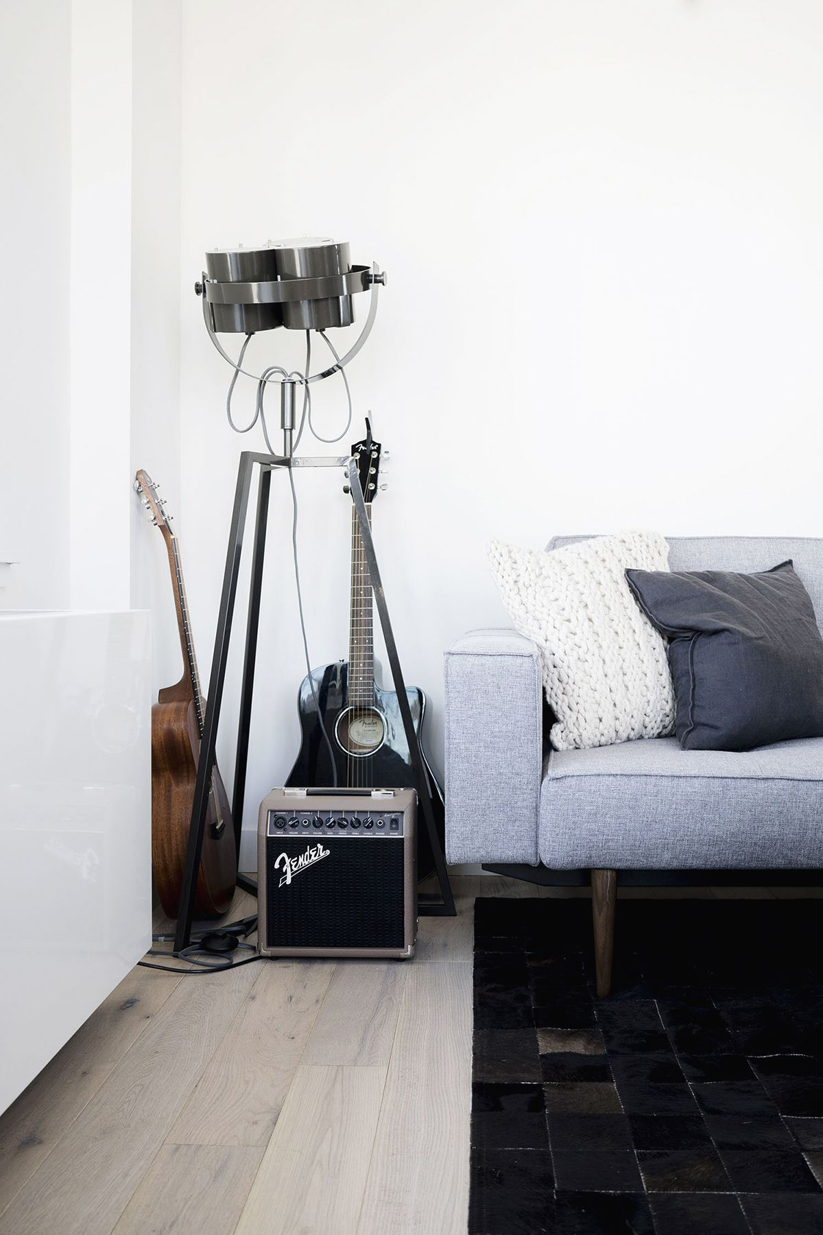 Grey Sofa Studio Floor Lamp Guitar Scandinavian Industrial Living Room In New York Floor Lamp Bedroom Living Room Scandinavian Floor Lamps Living Room