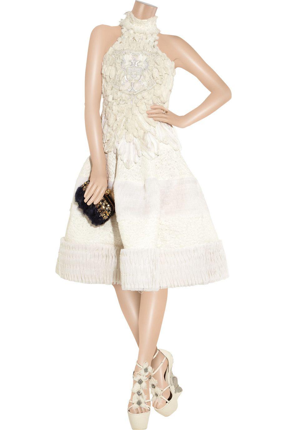 alexander mcqueen high-embroided silk-chiffon dress