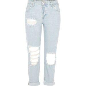 9eeab092fb River Island Petite light blue wash ripped boyfriend jeans