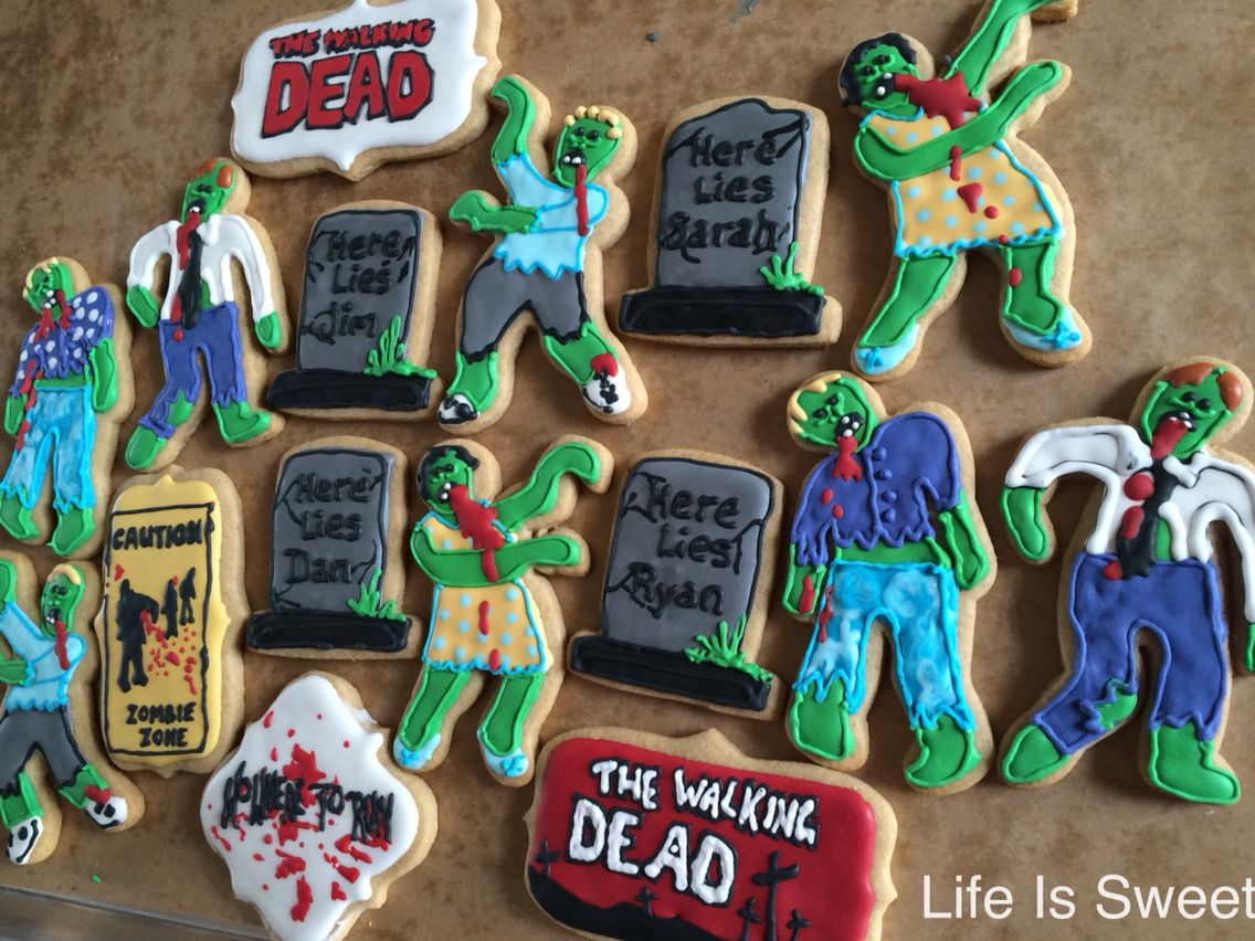 Walking Dead season finale party cookies.
