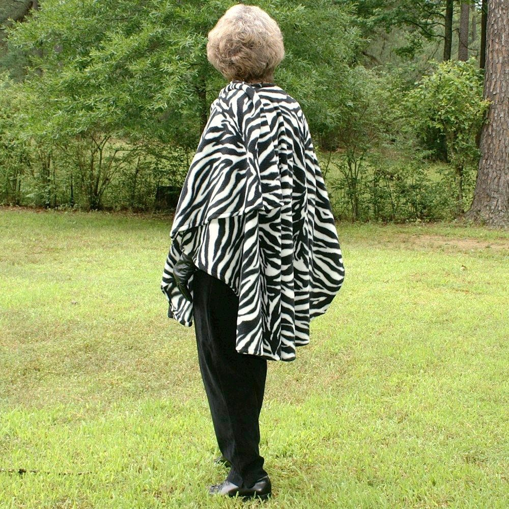 Wrap shawl cape blanket scarf or ruana in zebra design anti pill