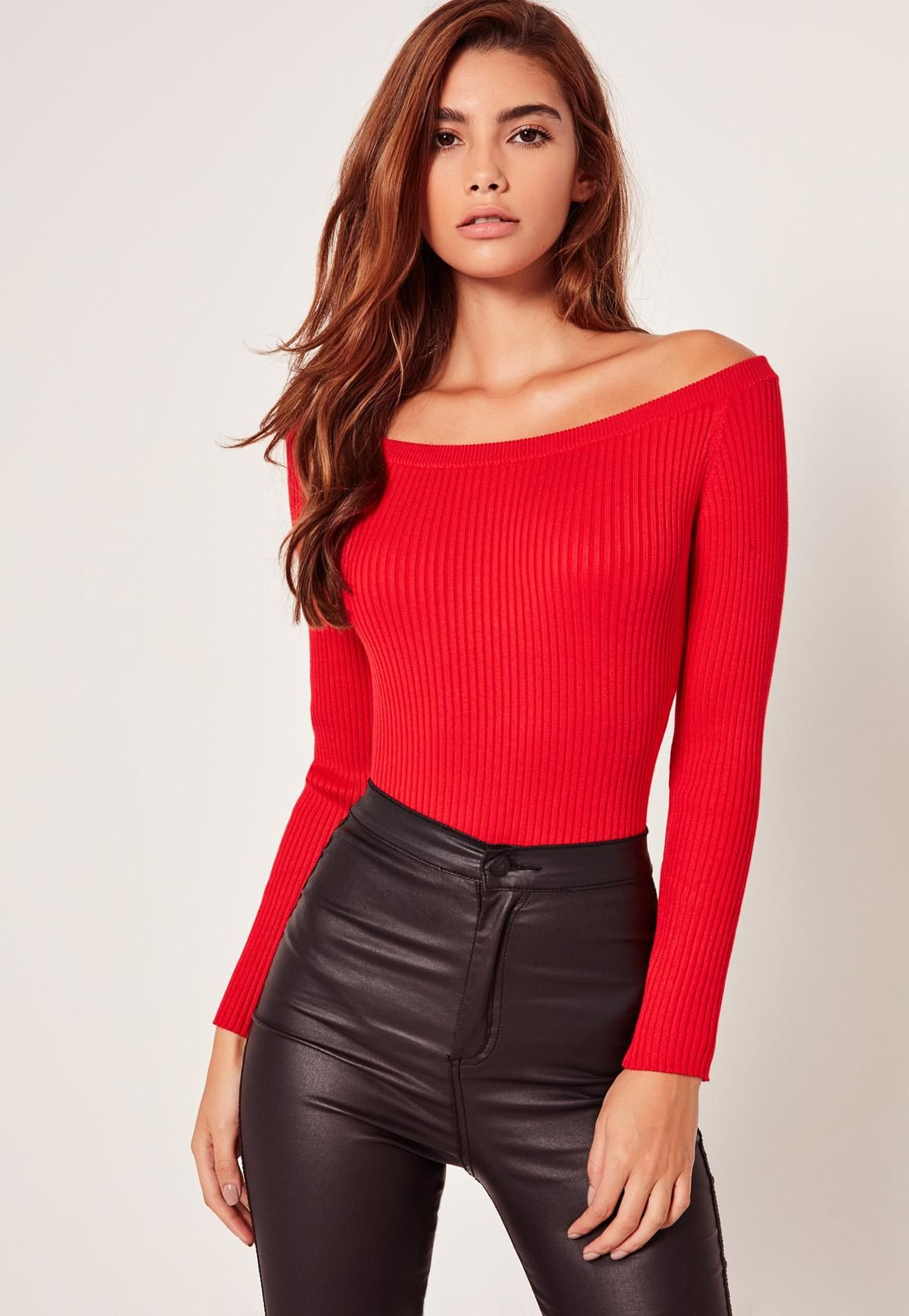 17d67ddcf81d8b Missguided - Red Long Sleeve Bardot Knitted Bodysuit