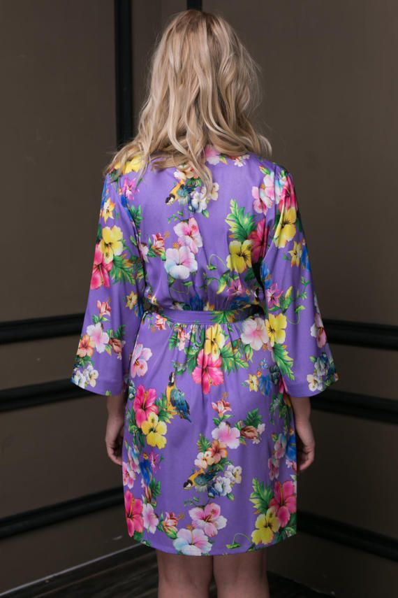 Lilac Satin Robe, Floral Dressing Gown, Tropical Robe, Hawaii ...