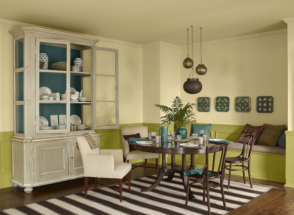 dining room ideas & inspiration | yellow dining room, ceiling and