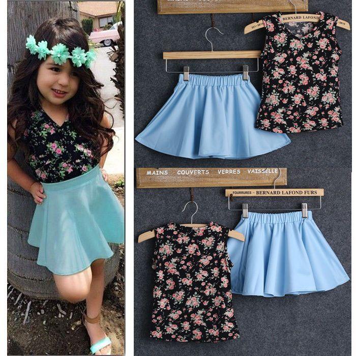2pcs Toddler Baby Kids Girls Dress Flower Tops T-Shirt+Skirt Dress Outfits Set #Unbranded #Everyday