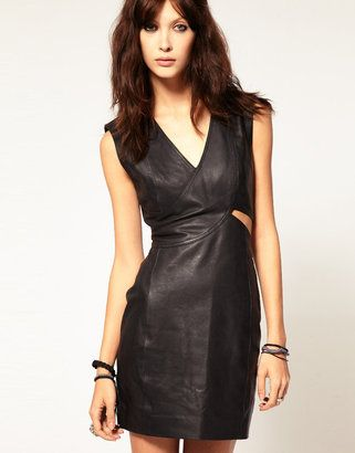 Gestuz Body-Conscious Leather Cut Out Dress