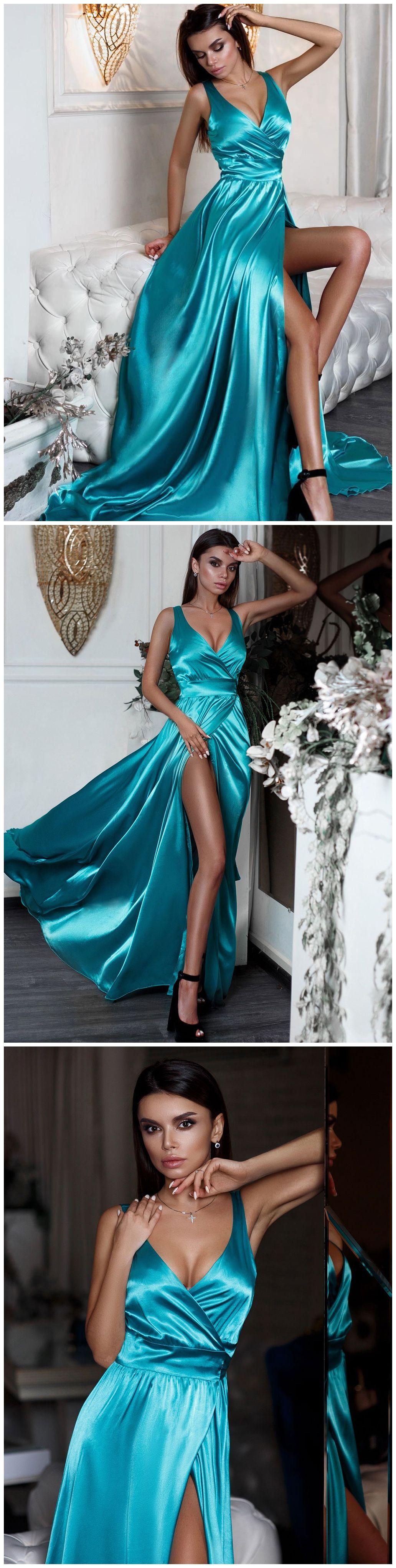 Sexy split long prom dresses turquoise vneck formal evening dress