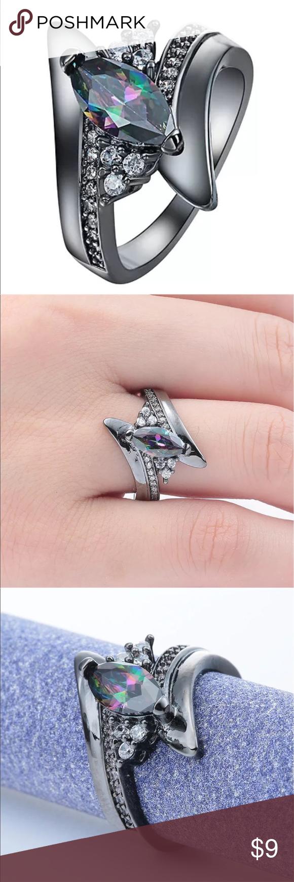 Beautiful Gun Black AB Crystal Marquis Ring Boutique | Marquis ...