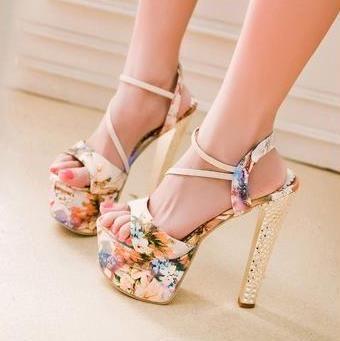 Shoespie Over High Stiletto Heel Print Dress Sandal