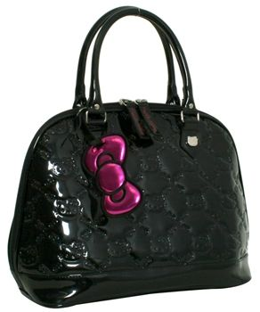 45fc7b011c1a HELLO KITTY BLACK PATENT EMBOSSED TOTE BAG  70.00 HELLO KITTY BLACK SHINY  FAUX LEATHER TOTE WITH EMBOSSED DETAIL. 14