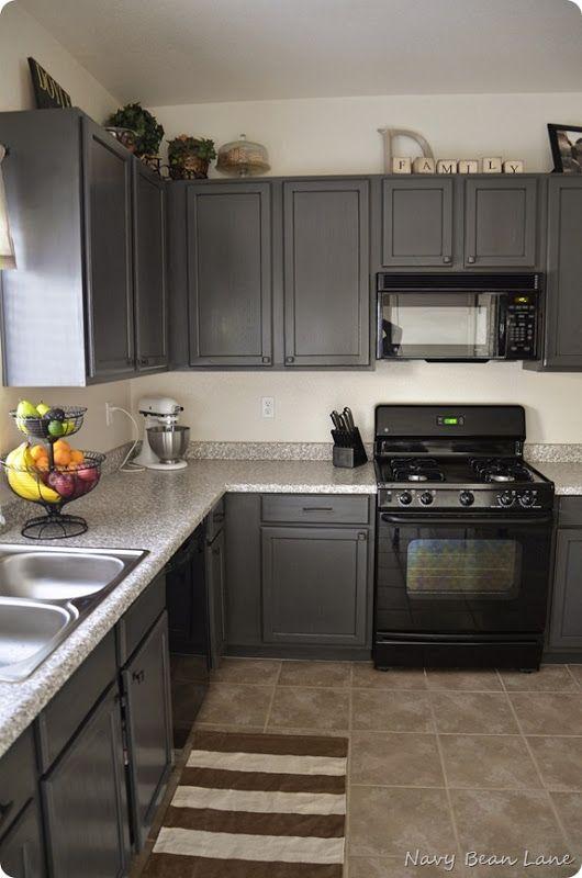 Navy Bean Lane Gray Kitchen Cabinets Before After Kitchen