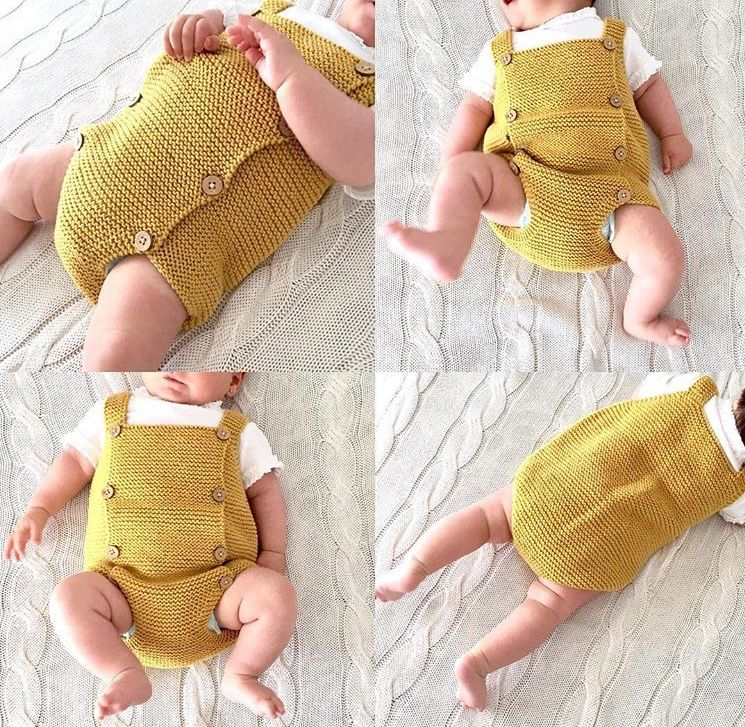 Knitted Baby Romper made with garter stich- DIY Pattern ...