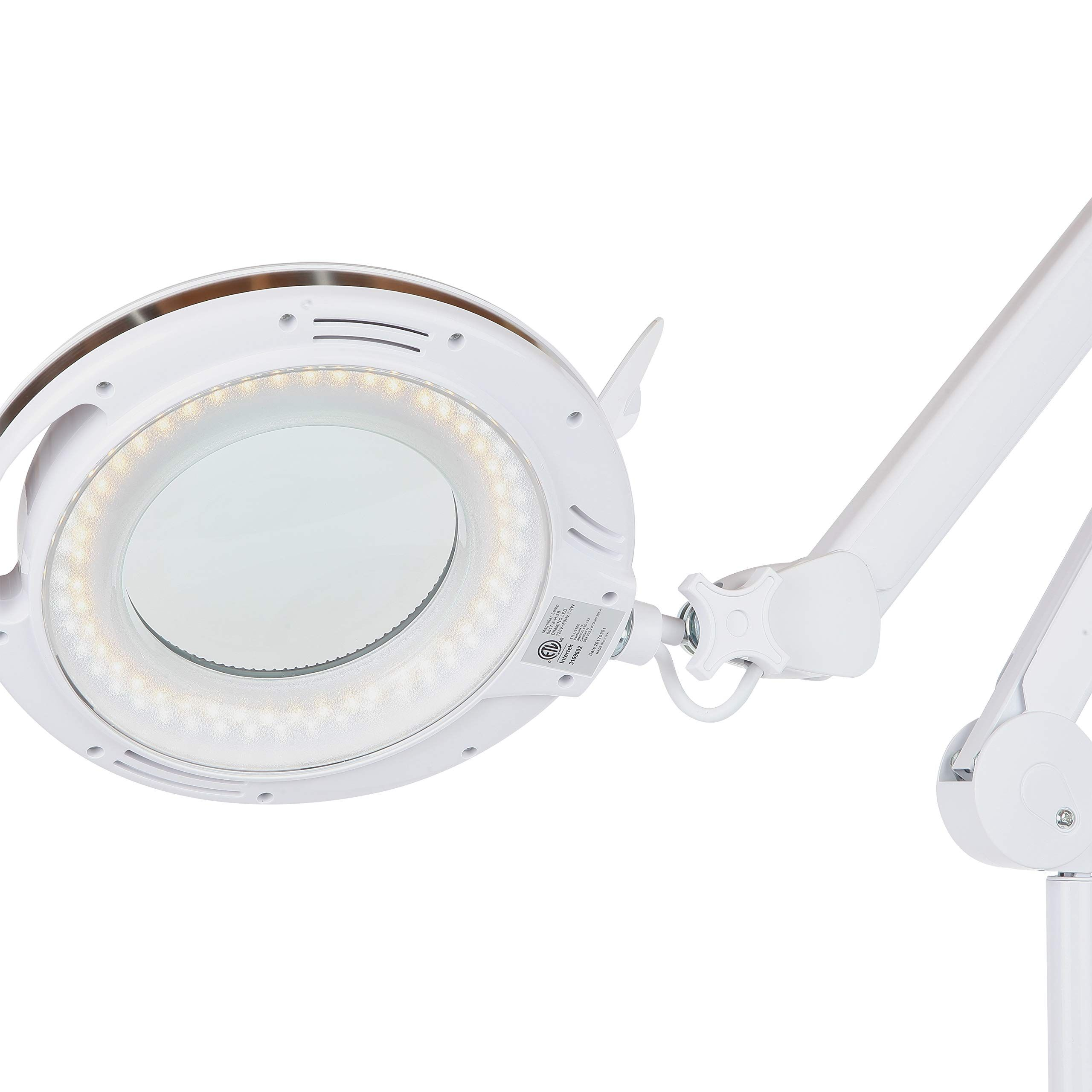 Brightech Lightview Pro Led Magnifying Glass Floor Lamp 6 Wheel Rolling Base Reading Magnifier Light With Gooseneck For Professional Tasks Floor Lamp Puzzle Lights Magnifying Glass