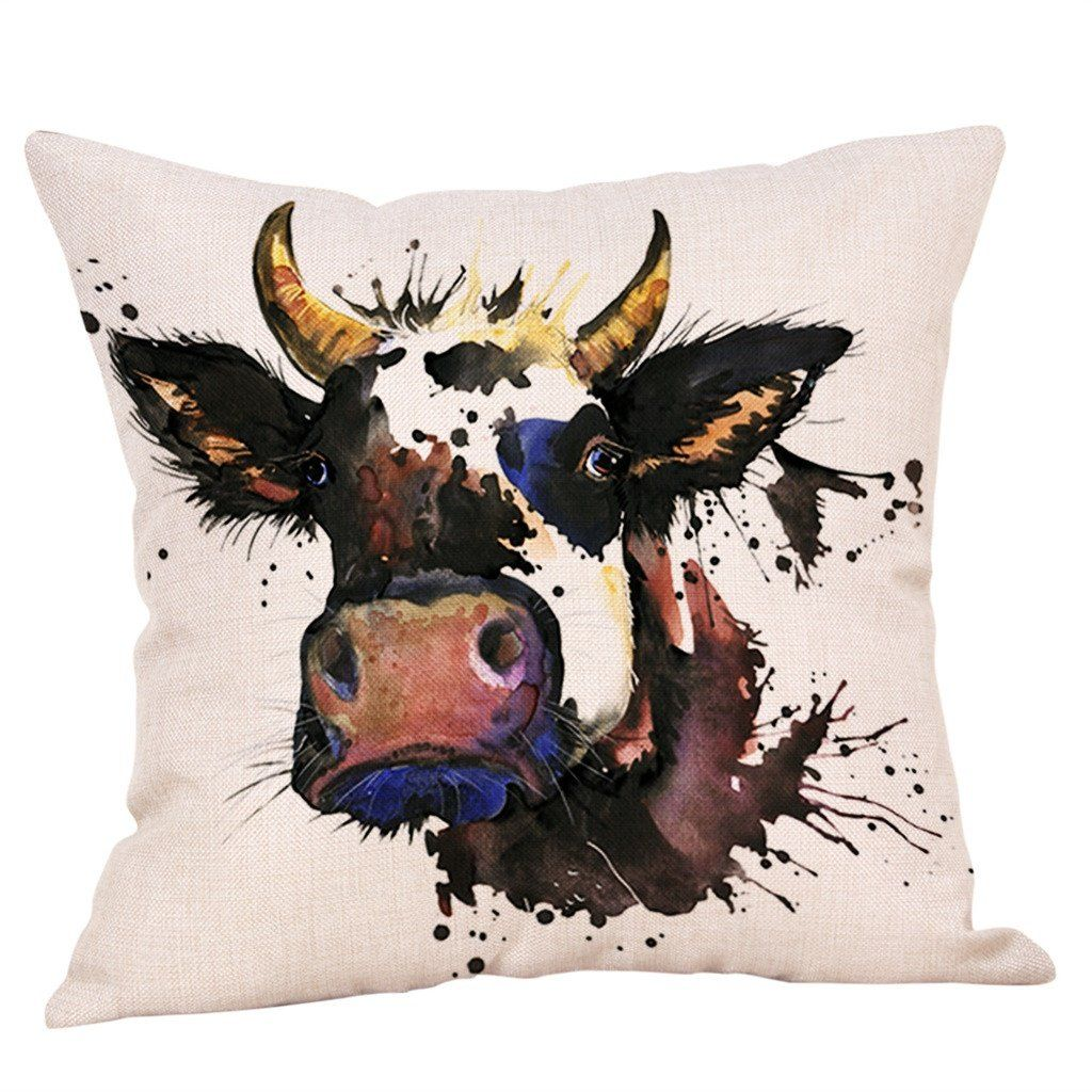Cushion Cover Farmhouse Cow Printed Linen Animals Throw Pillow Car Sofa Cover Decorative Pillowcase Decorativos Cojines 45x45cm Animal Throw Pillows Decorative Pillow Cases Throw Pillows Watercolor
