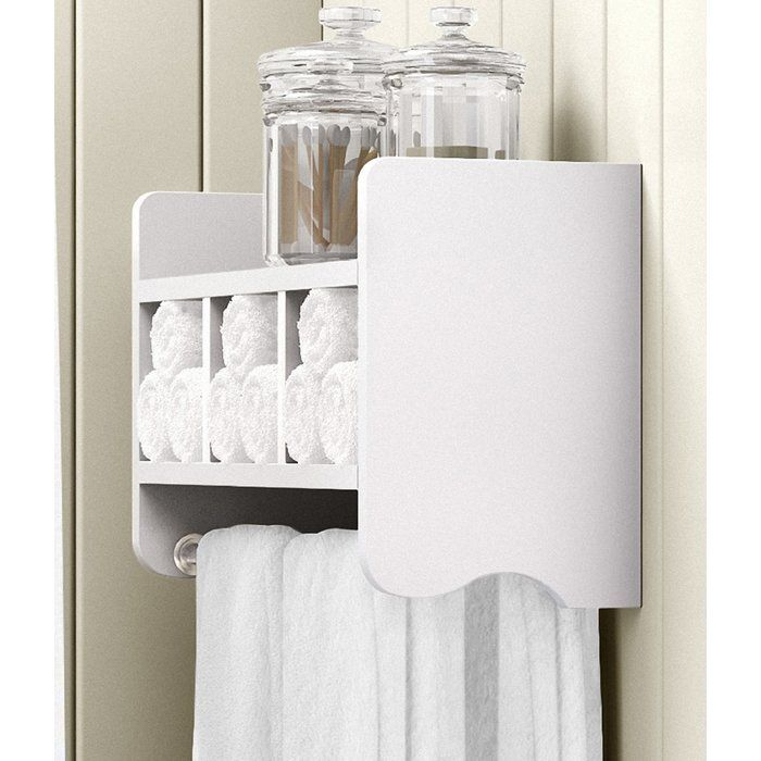 Bathroom shelf with 2 shelves and towel bar. Storage cubbies to ...